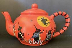 Fabulous Artist OOAK Witch Halloween Tea Pot 11 Witches Moon Flying Rare Signed