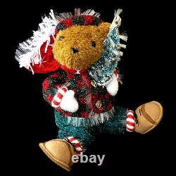 Fiber Optic Christmas Figure / Teddy Bear & Christmas Tree / Vintage Color Wheel