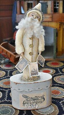 Folk Artist Nicol Sayre Vintage Style Good Children Santa Doll Box