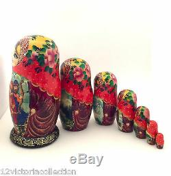 Frog Princess Russian Fairy Tale Nesting DOLL Hand Carved Painted 7 piece set