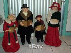GIANT 25 in to 37 in Victorian Family Carolers Set of 4 with Song Books RARE USED