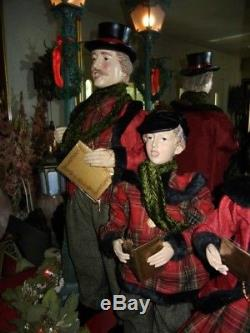 GIANT DELUXE 36 inch 4 piece VICTORIAN CAROLER SET MUSICAL CHRISTMAS RARE