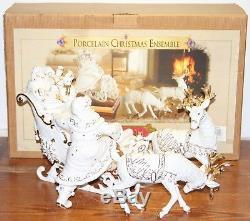 GRANDEUR NOEL WHITE PORCELAIN SANTA & SLEIGH Collector's Set #J0114
