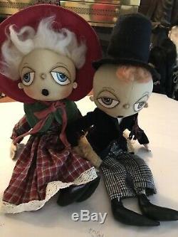 Gathered Traditions Artist Joe Spencer Folk Art Christmas Dolls