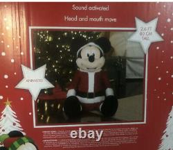 Gemmy Singing Christmas Mickey Mouse 2.6 Ft Life Size Animated Disney Santa