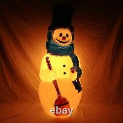 General Foam Frosty The Snowman Blow Mold 42 Carrot Nose Blue Scarf Vintage