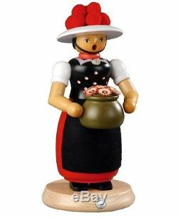 German incense smoker Black-Forest lass, height 25 cm / 10 inch. MU 16641 NEW