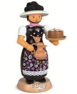 German incense smoker Black-Forest woman with smoking coffeepot. MU 16642 NEW
