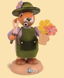 German incense smoker Easter bunny gardener, height 18 cm / 7 inc. MU 42468 NEW