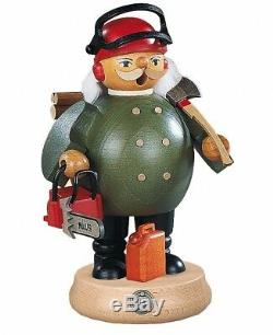 German incense smoker Forest worker with power saw, height 17 cm. MU 16186 NEW
