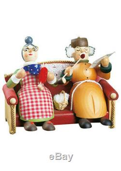German incense smoker Grandma and Grandpa on the sofa, height 13. RG 26025 NEW