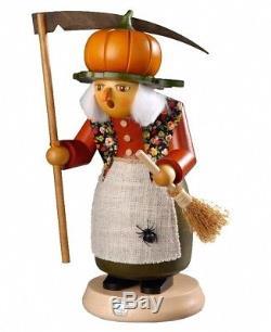 German incense smoker Halloween witch with pumpkin, height 25 cm. MU 16647 NEW