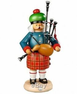 German incense smoker Scotsman with bagpipes, height 27 cm / 11 i. MU 16302 NEW