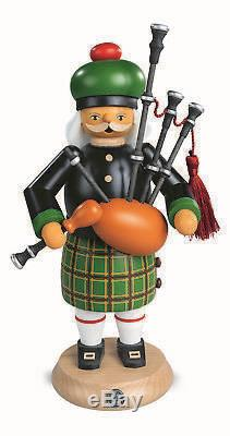 German incense smoker Scotsman with bagpipes, height 27 cm / 11 i. MU 16304 NEW