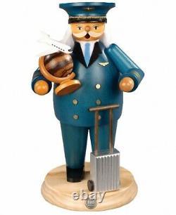 German incense smoker flight captain, height 25 cm / 10 inch, ori. MU 16637 NEW
