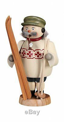 German incense smoker skier, height 19 cm / 7 inch, original Erzg. SV 12668 NEW