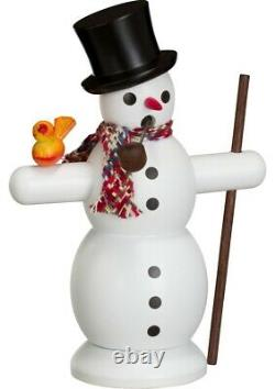 German incense smoker snowman with scarf, height 16 cm / 6 inch. SV 12202 NEW