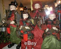 Giant 35 In. 4 Piece Deluxe Caroler Set Musical / Lighted Lantern Christmas Rare