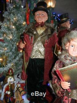 Giant 36 Inches 4 Piece Deluxe Gold Brocade Caroler Set Sings Christmas Rare H-6
