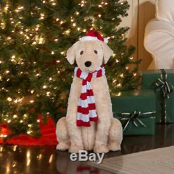 Golden Retriever Life-Size Animated Christmas Figurine Plays 3 Holiday Songs
