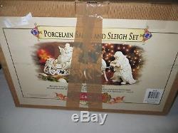 Grandeur Noel 2001 Porcelain Christmas Santa & Sleigh 4 Piece Set Mib