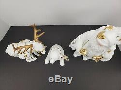 Grandeur Noel 3 Piece Porcelain Figure Set- Santa, Bear, Reindeer- 1999- In Box