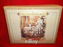 Grandeur Noel 3 Piece Porcelain Figurine Set/ Santa Reindeer Polar Bear'99 652