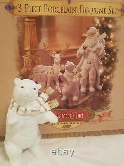 Grandeur Noel 3 Piece Porcelain Figurine Set/ Santa Reindeer Polar Bear'99 MIB