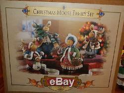 Grandeur Noel Christmas Moose Family Set Very Rare