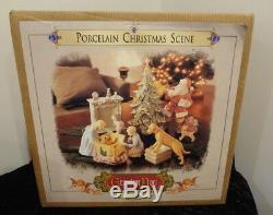 Grandeur Noel Porcelain Christmas Scene 2001 Collector Edition Santa Dog with Box