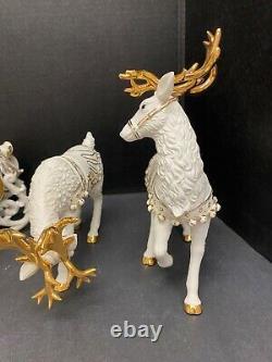 Grandeur Noel Santa Sleigh 2000 Porcelain Collectors Edition Christmas Ensemble