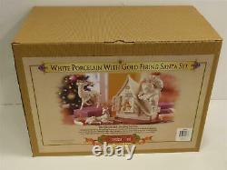 Grandeur Noel White Porcelain With Gold Firing Santa Set 2003