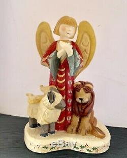 HOUSE OF HATTEN 1998 Christmas Angel Lion Signed D Calla Large 16 X 11