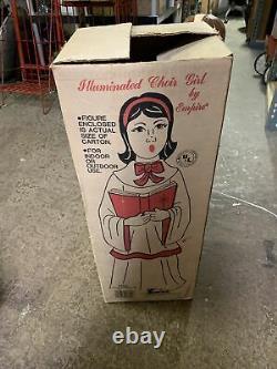 HTF Vintage Empire GIRL Choir Caroler Christmas Blow Mold with Box