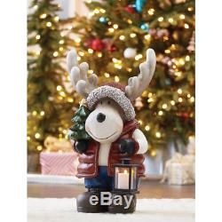 Holiday Christmas Tall Extra Large Moose Figurine Greeter with LED Candle Lantern