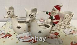 Holt Howard Christmas 1959 Santa with Reindeer Candle Holder/Planter