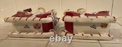 Holt Howard Christmas Holly Pixie Planter/Candle Holder Set MINTY