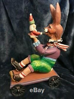 House Of Hatten Rabbit Hare Bunny On Cart WithSanta Doll Sculpture 14 H 1997