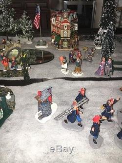 Huge Lot Of Lemax Christmas Figurines And Scenery Flying Santa White Lion Pub