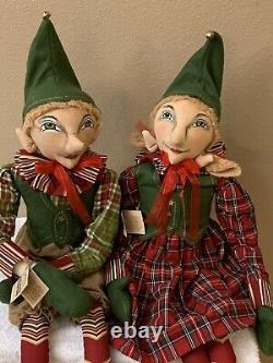 Joe Spencer Gallerie II Hugh & Helena Elves Christmas Both New With TAgs