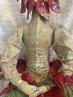 Joe Spencer Gathered Traditions Gallerie II Christy Christmas Poinsettia Doll 19