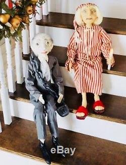 Joe Spencer Gathered Traditions Scrooge & Jacob Marley SET Christmas Carol Dolls