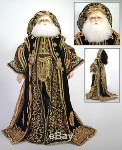 Katherine's Collection 32 Black & Gold Santa Claus Doll Christmas New