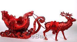 Katherine's Collection Rare 36 Crimson Reindeer & Sleigh Set $200 Off Sale