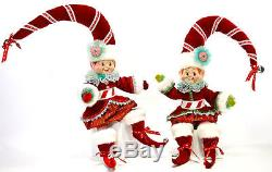 Katherine's Collection TWO 24 Peppermint Poseable Elf Dolls Last Set Sale