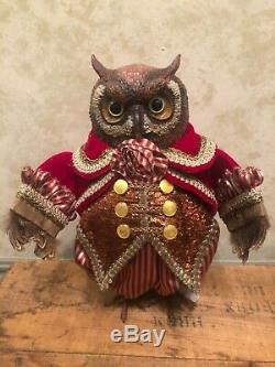 Katherines Collection Crimson Red Owl figure Christmas decor high end