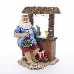 Kurt Adler 11Beach Santa Sitting At Tiki Bar