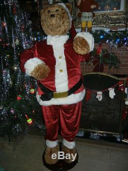 LIFE SIZE ANIMATED 5 FOOT DANCING / SINGING CHRISTMAS SANTA BEAR with MICROPHONE A