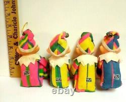 LOT 4 Knee Hugger Neon Striped Christmas Easter Elf Ornament, Japan, Shelf, Sitter