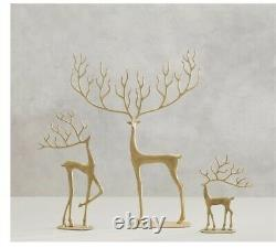 LOT Pottery Barn MERRY Reindeer Object (3) SMALL MEDIUM LARGE In GOLD